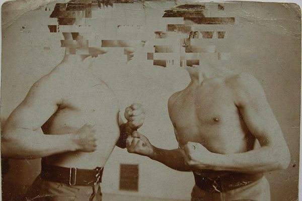 Distressed photo of 19th-century boxers with faces pixelated.